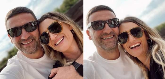 Un colaj cu Carmen Negoiță și Cătălin Boboc. Amândoi zâmbesc și poartă ochelari de soare și se află afară.