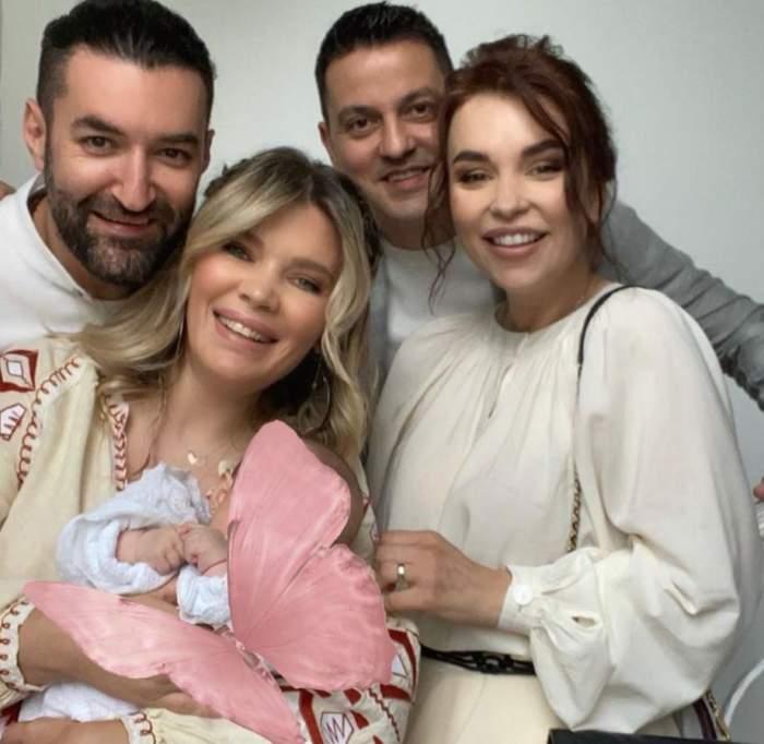 Cine sunt și cum arată nașii lui Josephine Ana, fiica Ginei Pistol și a lui Smiley. Evenimentul a strâns toată crema vedetelor / FOTO