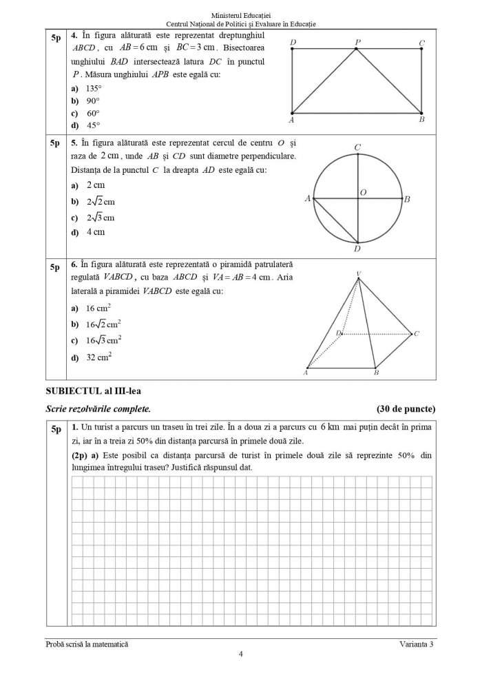 Evaluare Națională 2021. Ce subiecte au primit elevii la Matematică