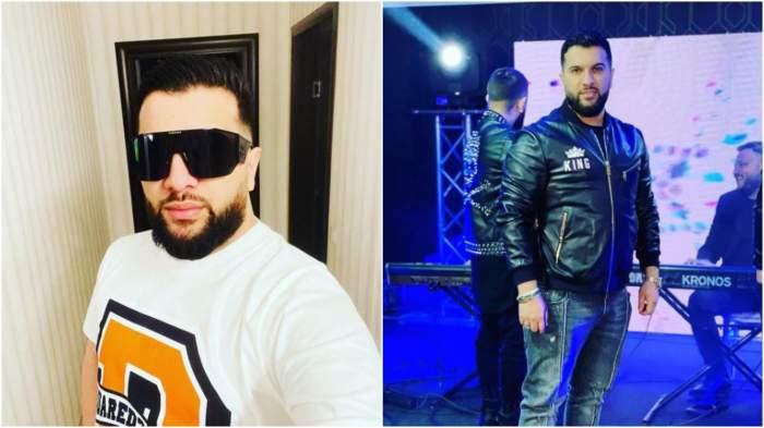 Colaj cu Tzancă Uraganu în tricou alb/ Tzancă Uraganu în timpul unui concert.