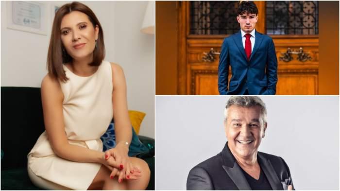 Colaj cu Liliana Ștefan în rochie/ Dan Bittman la costum/ Patrick Bittman la costum.