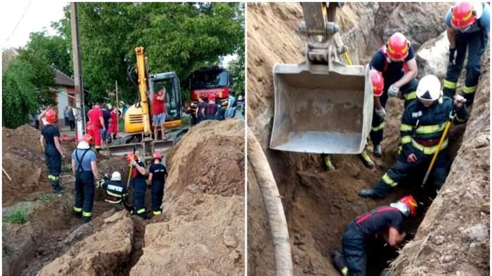 Doi muncitori din Timiș au fost îngropați de vii sub un mal de pământ care s-a surpat. În ce stare se află acum