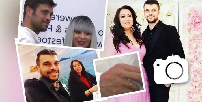 O machetă cu Oana Roman și Marius Elisei. Sunt mai multe imagini de cuplu cu ei, iar în centru e o imagine cu mâna lui în care poartă verighetă.