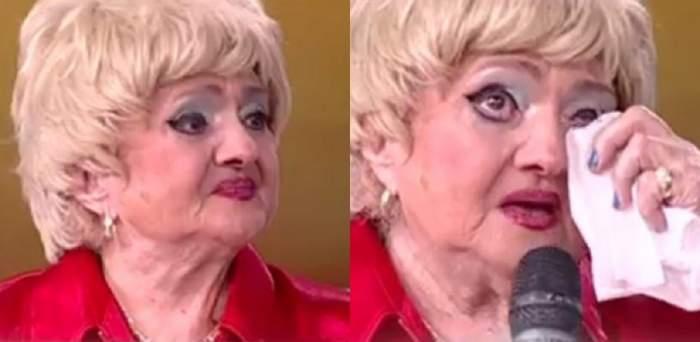 Camelia Mitoșeru poartă o bluză roșie și își șterge lacrimile. Vedeta e la Antena Stars și vorbește la microfon.