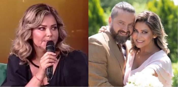 În stânga e Miki EX K-pital la Antena Stars, vorbește la microfon și poartă rochie neagră, iar în dreapta e la cununia civilă cu soțul ei. Cei doi se țin în brațe și zâmbesc. Ea poartă rochie roz, iar el sacou maro.