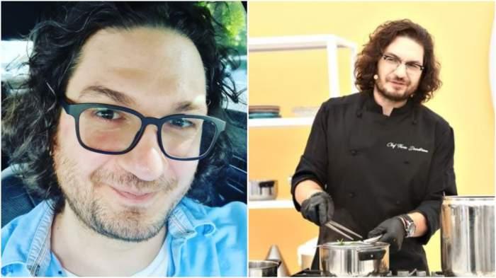 Colaj cu Florin Dumitrescu, selfie/ Florin Dumitrescu în bucătăria Chefi la cuțite.