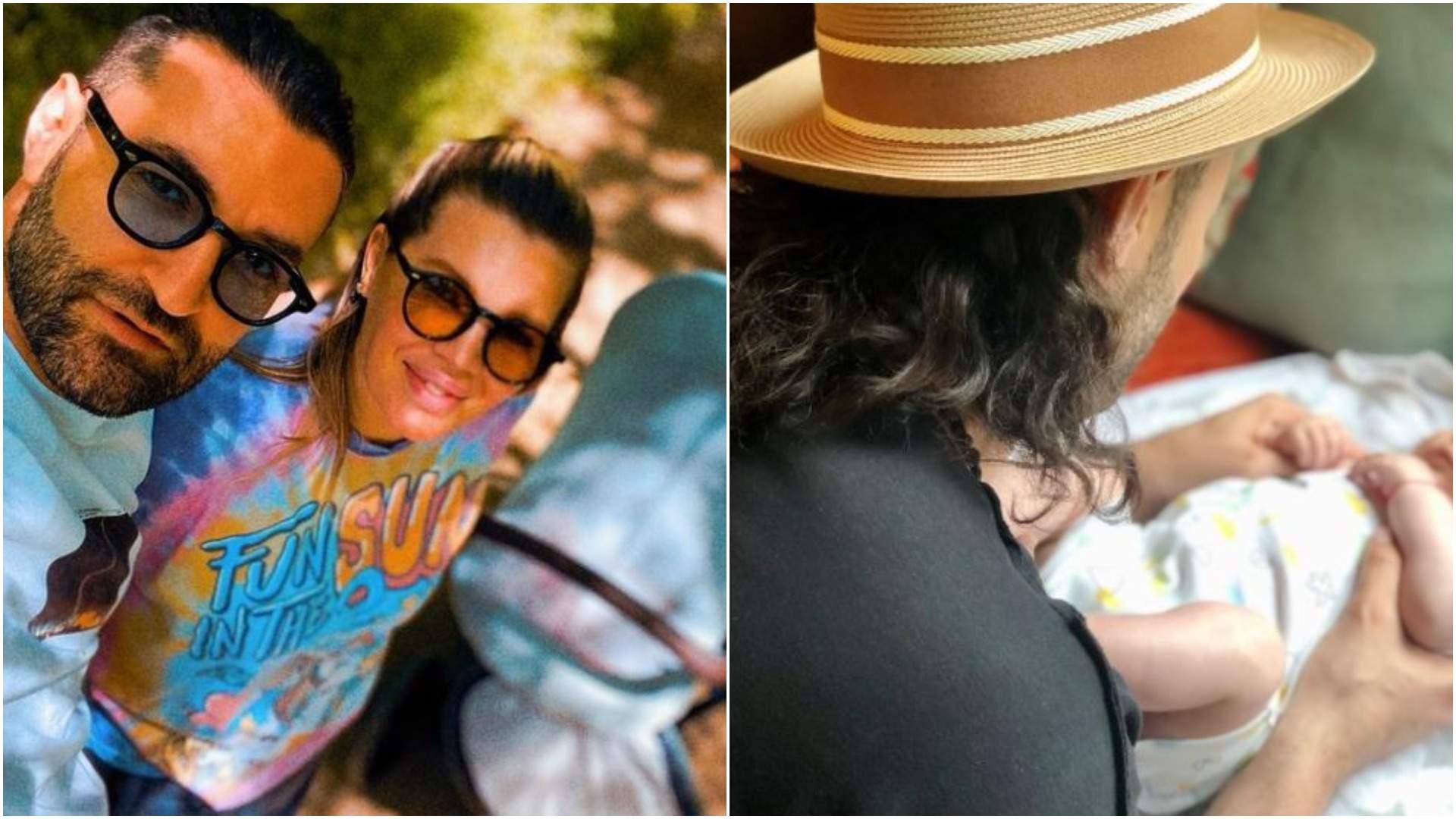 Colaj cu Smiley și Gina Pistol cu fiica lor în cărucior/ Smiley în timp ce o pregătește pe fiica sa.