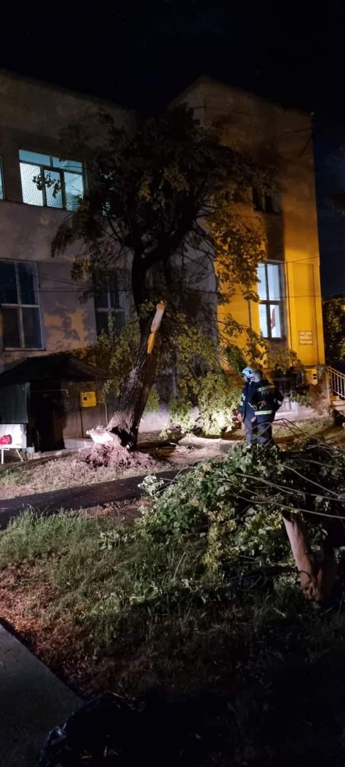 Spitalul Județean din Arad, rămas fără parte din acoperiș după furtunile violente. Vântul puternic a smuls copacii din rădăcină