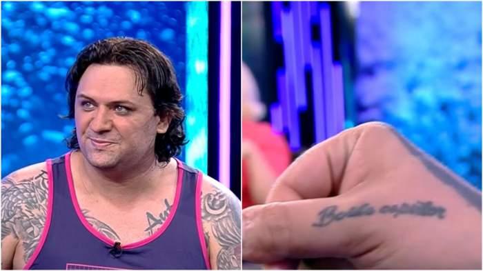 Colaj cu Luis Stan în platou la Antena Stars/ tatuaj lui Luis Stan.