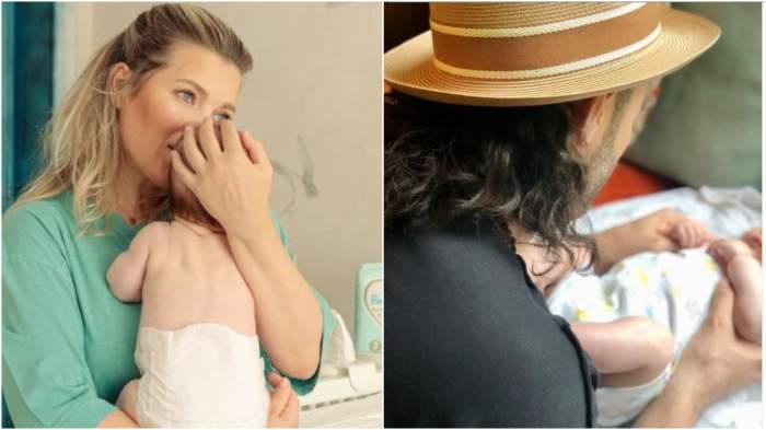 Colaj cu Gina Pistol în brațe cu Josephine/ Smiley în timp ce o îmbracă pe Josephine.