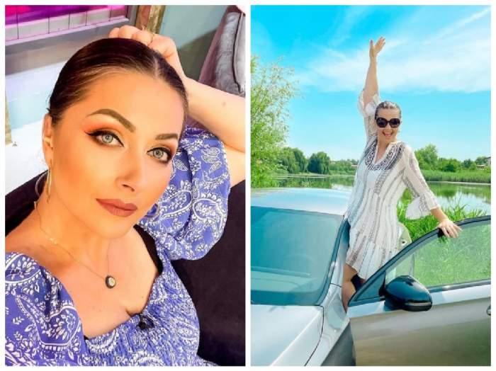 Colaj cu Gabriela Cristea, pe fotoliu și în mașină