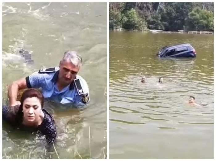 Colaj cu momentul în care pulițistul din Iași a salvat viața femeii căzute în lac
