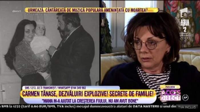 Captură cu Carmen Tănase în cadrul unui interviu.