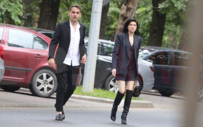 Daliana Răducan și Răzvan Simion pe stradă.