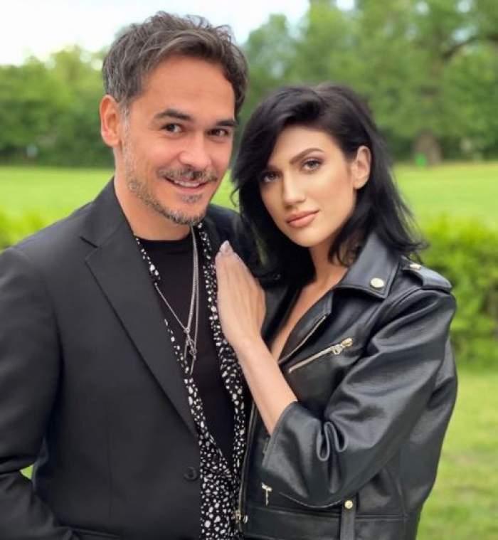 Daliana Răducan în geacă de piele, alături de Răzvan Simion la costum.