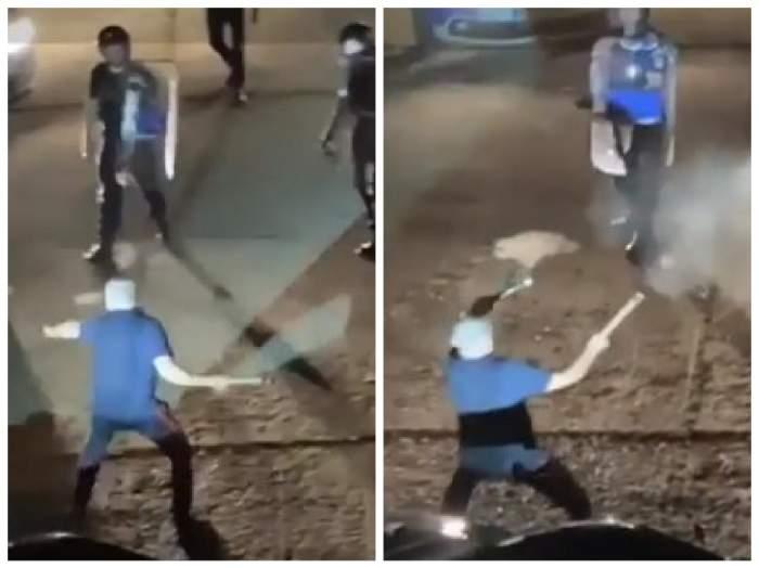 Momentul în care bărbatul beat îi amenință cu topoarele pe polițiști
