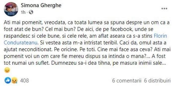 """Simona Gherghe îl plânge pe Florin Condurățeanu pe Facebook. Mesajul trist postat de prezentatoarea TV: """"A fost tot numai un suflet"""""""