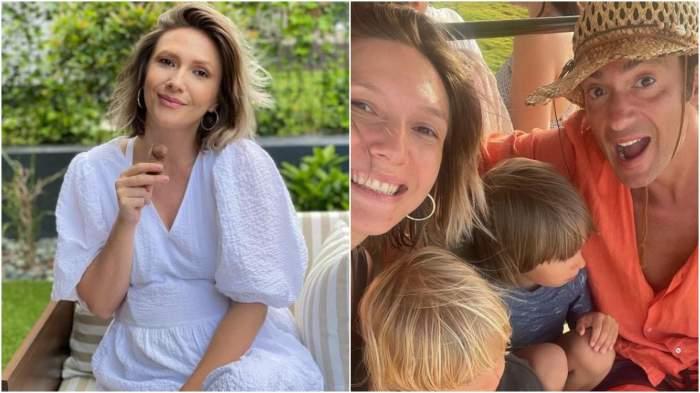 Colaj cu Adela Popescu cu rochie albă/ Adela Poepscu și Radu Vâlcan alături de copii.