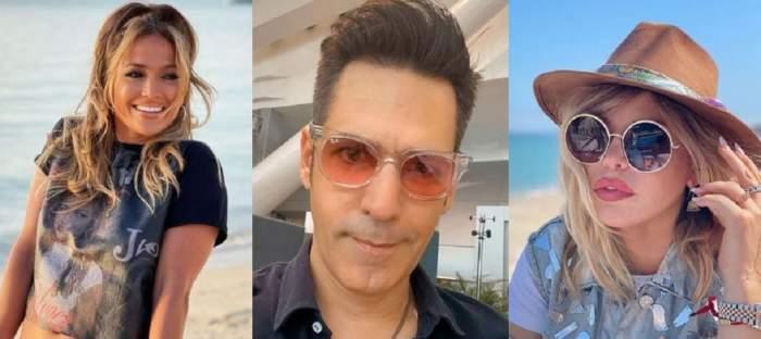Un colaj cu Ștefan Bănică Jr, Loredana Groza și Jennifer Lopez. Ele sunt pe plajă, iar el își face un selfie în cămașă neagră.