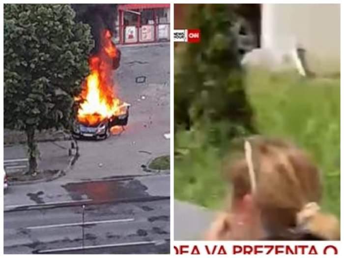 Amanta lui Ioan Crișan, pe o bancă din apropierea exploziei