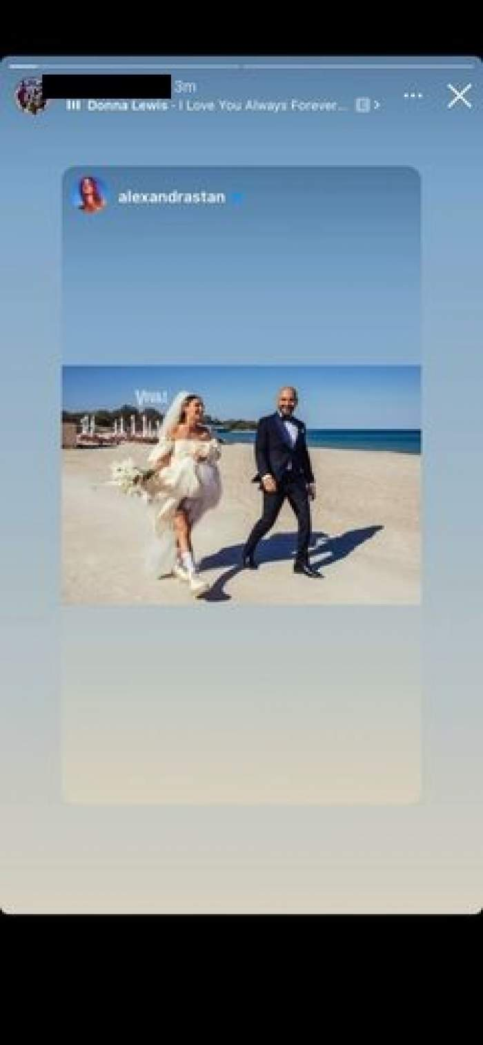 Alexandra Stan și Emanuel, pe plajă,în ziua nunții.