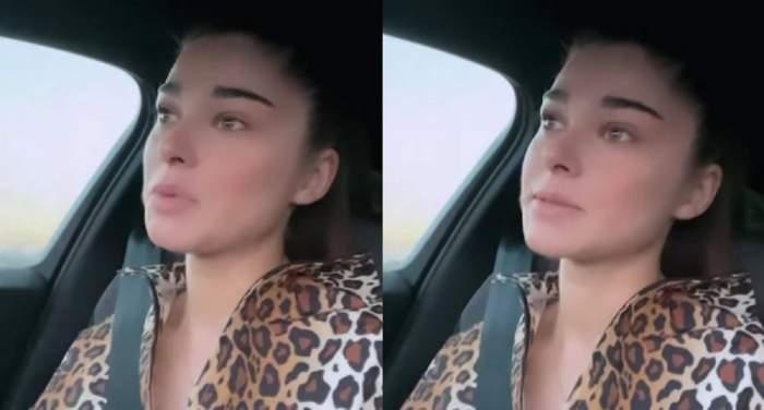 Theo Rose e în mașină și poartă bluză cu animal print, stil leopard.
