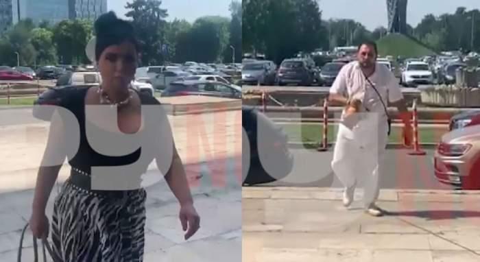 Adriana Bahmuțeanu și Nikos Papadopoulos la priveghiul lui Florin Condurățeanu. Ea poartă tricou negru și fustă cu animal print, iar el e îmbrăcat în alb.