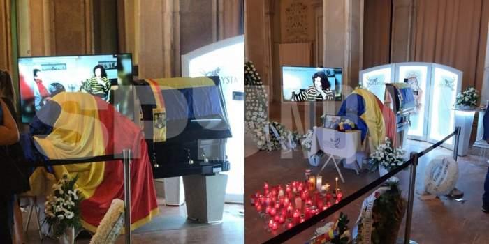 Sicriul lui Florin Condurățeanu, acoperit cu Drapelul României. Jurnalistul va fi înmormântat joi la Cimitirul Bellu