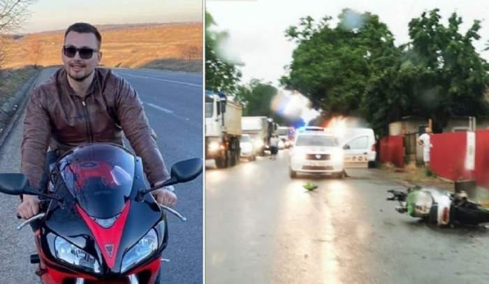 Colaj cu accidentul din județul Botoșani. În stânga e o poză tânărul care a murit după ce a intrat cu motocicleta în mașina condusă de unchiul lui. La fața locului a ajuns Poliția.