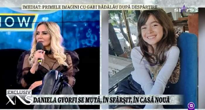 Daniela Gyorfi stă pe canapea la Xtra Night Show și poartă o bluză neagră și pantaloni din piele. În dreapta e o poză cu fiica ei, Maria.