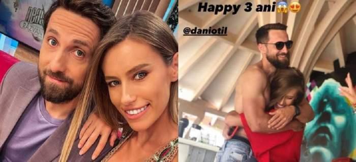 Un colaj cu Dani Oțil și Gabriela Prisăcariu. În prima poză își fac selfie, iar în a doua se țin în brațe zâmbind.