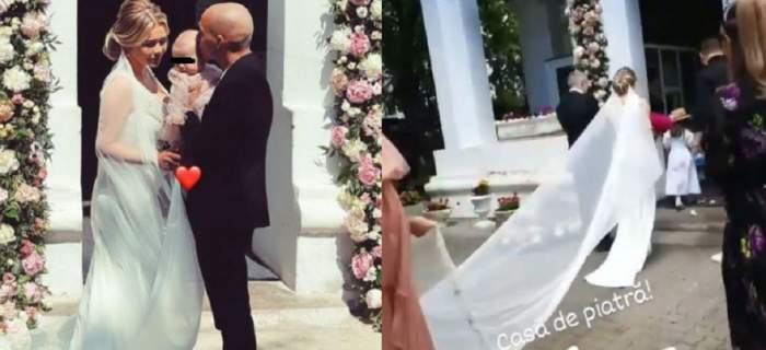 Imagini de la nuntă lui Alexandru Mitriță și a soției lui, Alesia. Ea poartă o rochie albă, de mireasă, iar el costum negru și o ține în brațe pe fiica lor.