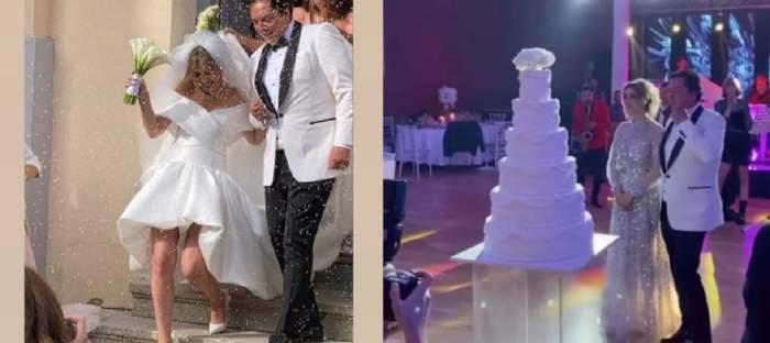 Un colaj cu Daiana Anghel și soțul ei de la nuntă. În prima poză se țin de mână, iar în a doua se uită la tortul cu etaje. Ea poartă rochie albă de mireasă, el sacou alb și pantaloni negri.