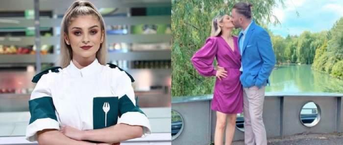 În stânga Elena Matei poartă o uniformă albă și e la Chefi la cuțite, iar în dreapta își sărută iubitul. Ea poartă rochie mov, iar el sacou albastru și pantaloni gri.