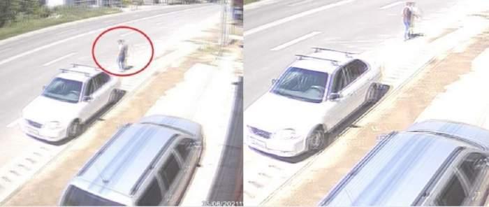Imagini de la accidentul din Dolj, în care un băiat de 27 de ani a murit spulberat de o mașină. Acesta merge pe marginea străzii.