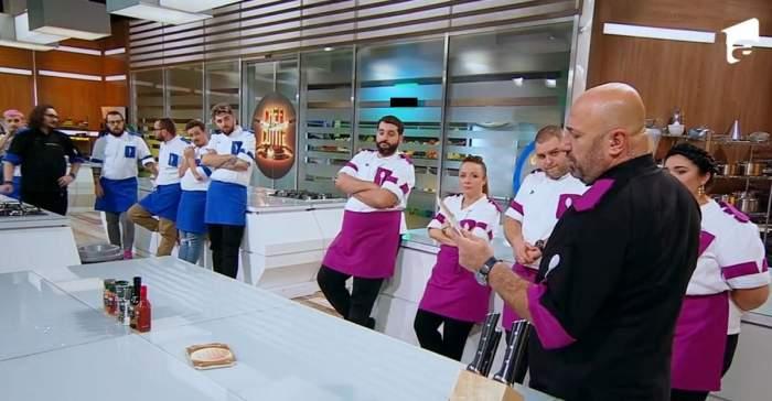 Răsturnare de situație la Chefi la cuțite! Alex Bădițioaia, scăpat de la eliminare de Cătălin Scărlătescu. Pe cine a dat afară pentru a-și salva cuțitul de aur / VIDEO