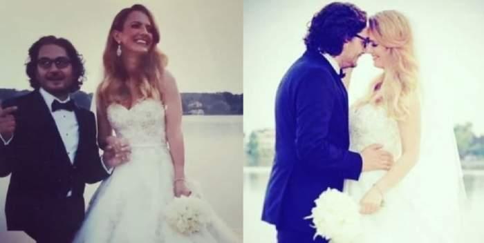 Un colaj cu Florin Dumitrescu și soția lui, Cristina. Cei doi erau la nuntă. Ea poartă rochie de mireasă albă, iar el costum negru.
