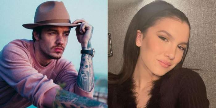 Un colaj cu Liam Payne și Maya Henry. Ea își face un selfie purtând o bluză neagră, iar el poartă bluză roz și pălărie.