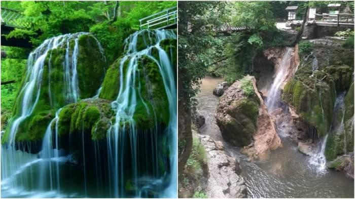Colaj cu Cascada Bigăr înainte și după ce s-a prăbușit.