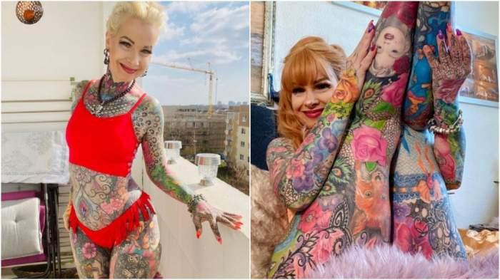 Ea este bunicuța care acheltuit peste 30.000 de euro ca să-și tatueze tot corpul! Imagini incredibile cuKerstin Tristan / GALERIE FOTO
