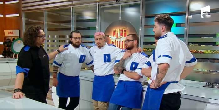 Captură video cu concurenții Chefi la cuțite, alături de Florin Dumitrescu.