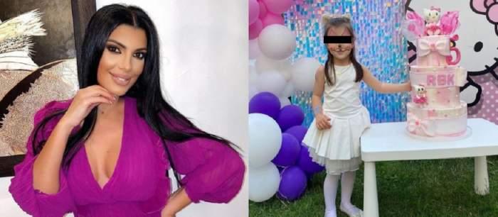 În stângă e Andreea Tonciu îmbrăcată în rochie mov. În dreapta e fiica ei, Rebecca, la petrecerea de ziua ei de naștere, lângă o masă pe care e așezat un tort.
