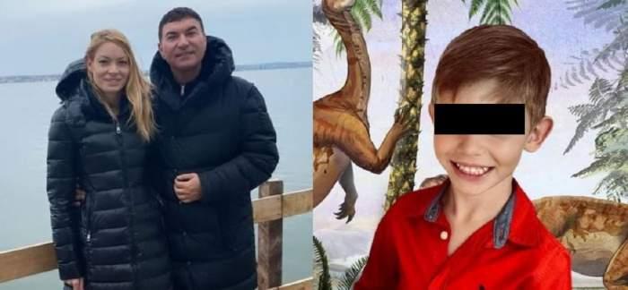 În stânga e o poză cu Valentina Pelinel și Cristi Borcea îmbrăcați în geci negre. În dreapta e fiul lor, Milan, în tricou roșu.