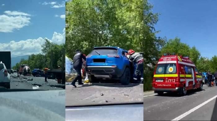 Imagini cu accidentul rutier din Hunedoara, în care un bărbat a murit. Pompierii și o ambulanță au ajuns la fața locului, pe stradă.