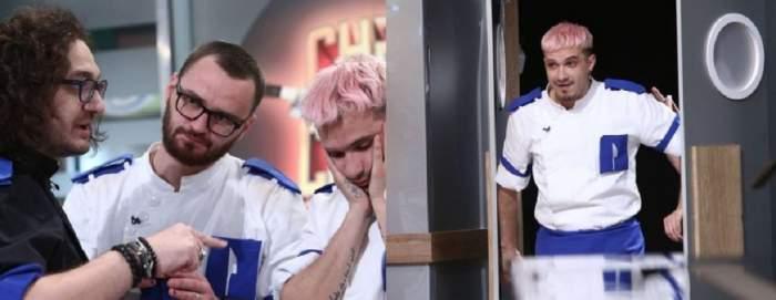 Un colaj cu Keed. În stânga e cu Florin Dumitrescu și un alt coleg în bucătăria Chefi la cuțite. În dreapta poartă uniformă albă și intră pe o ușă.