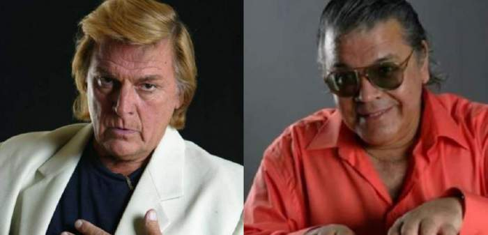 În stânga e Florin Piersic în sacou alb, iar în dreapta o poză cu Florin Condurățeanu în timp ce poartă cămașă oranj.