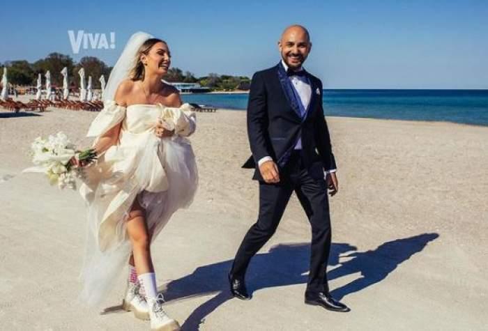 Alexandra Stan și Emanuel, în ziua nunții, pe plajă.