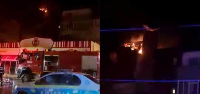 Bloc din Câmpina, în flăcări după ce a fost lovit de trăsnet. Clădirea a fost evacuată de urgență / VIDEO