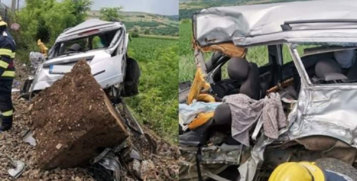 Colaj cu accidentul feroviar de la Cluj, în care un șofer de 40 de ani a murit. Mașina lui e contorsionată și se află pe un câmp, lângă calea ferată.