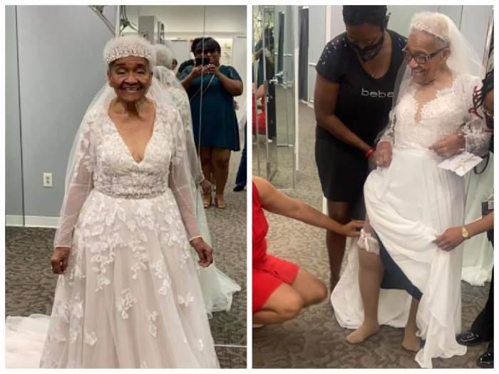 femeia de 94 de ani în rochie de mireasă
